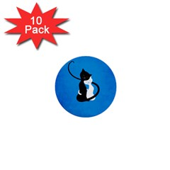 Blue White And Black Cats In Love 1  Mini Button (10 pack)