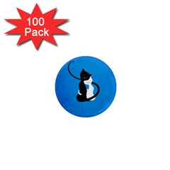 Blue White And Black Cats In Love 1  Mini Button Magnet (100 pack)