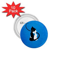 Blue White And Black Cats In Love 1.75  Button (10 pack)