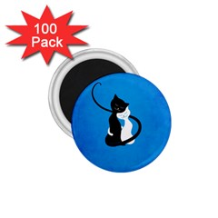 Blue White And Black Cats In Love 1 75  Button Magnet (100 Pack)