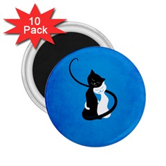 Blue White And Black Cats In Love 2 25  Button Magnet (10 Pack)