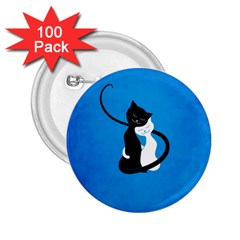 Blue White And Black Cats In Love 2 25  Button (100 Pack)