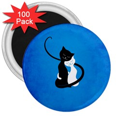 Blue White And Black Cats In Love 3  Button Magnet (100 pack)