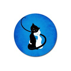 Blue White And Black Cats In Love Magnet 3  (Round)