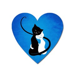 Blue White And Black Cats In Love Magnet (Heart)