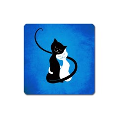 Blue White And Black Cats In Love Magnet (Square)