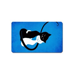 Blue White And Black Cats In Love Magnet (Name Card)