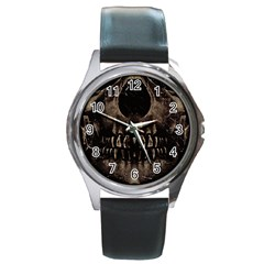 Skull Poster Background Round Leather Watch (silver Rim)