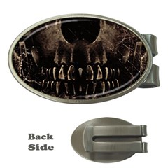 Skull Poster Background Money Clip (oval)