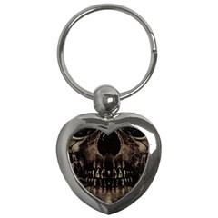 Skull Poster Background Key Chain (heart)