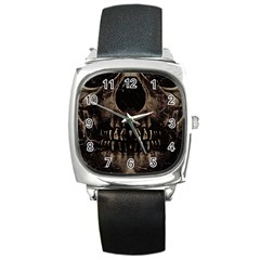 Skull Poster Background Square Leather Watch