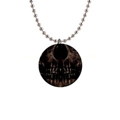 Skull Poster Background Button Necklace