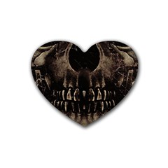 Skull Poster Background Drink Coasters (Heart)