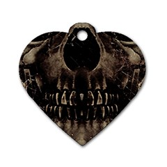 Skull Poster Background Dog Tag Heart (Two Sided)