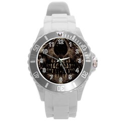 Skull Poster Background Plastic Sport Watch (Large)