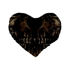 Skull Poster Background 16  Premium Heart Shape Cushion