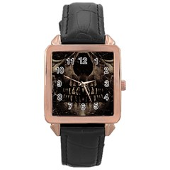 Skull Poster Background Rose Gold Leather Watch