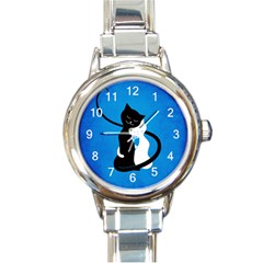 Blue White And Black Cats In Love Round Italian Charm Watch