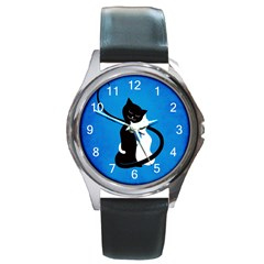 Blue White And Black Cats In Love Round Leather Watch (Silver Rim)