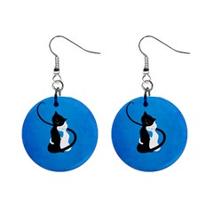 Blue White And Black Cats In Love Mini Button Earrings
