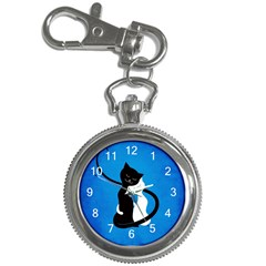 Blue White And Black Cats In Love Key Chain Watch