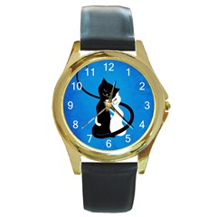 Blue White And Black Cats In Love Round Leather Watch (Gold Rim)