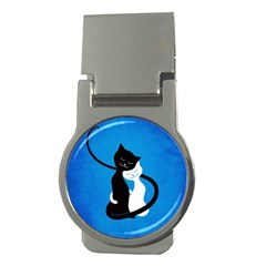 Blue White And Black Cats In Love Money Clip (Round)