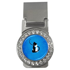 Blue White And Black Cats In Love Money Clip (cz)