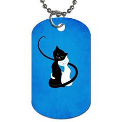 Blue White And Black Cats In Love Dog Tag (Two-sided)