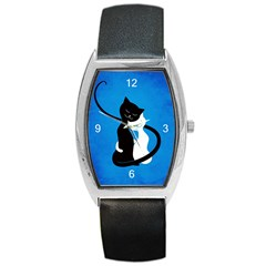 Blue White And Black Cats In Love Tonneau Leather Watch