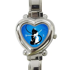 Blue White And Black Cats In Love Heart Italian Charm Watch