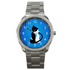 Blue White And Black Cats In Love Sport Metal Watch