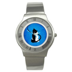 Blue White And Black Cats In Love Stainless Steel Watch (Slim)