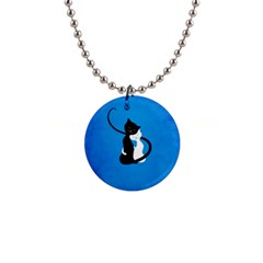 Blue White And Black Cats In Love Button Necklace