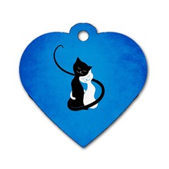 Blue White And Black Cats In Love Dog Tag Heart (two Sided)