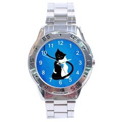 Blue White And Black Cats In Love Stainless Steel Watch