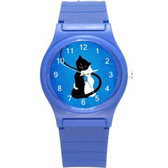 Blue White And Black Cats In Love Plastic Sport Watch (Small)