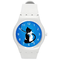 Blue White And Black Cats In Love Plastic Sport Watch (Medium)