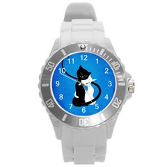 Blue White And Black Cats In Love Plastic Sport Watch (Large)