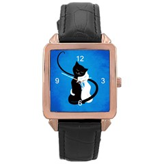 Blue White And Black Cats In Love Rose Gold Leather Watch