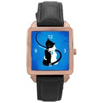 Blue White And Black Cats In Love Rose Gold Leather Watch  Front