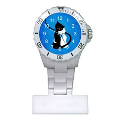 Blue White And Black Cats In Love Nurses Watch
