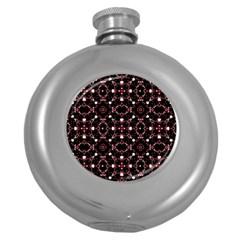 Futuristic Dark Pattern Hip Flask (Round)
