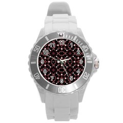 Futuristic Dark Pattern Plastic Sport Watch (Large)