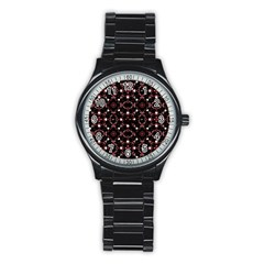 Futuristic Dark Pattern Sport Metal Watch (Black)
