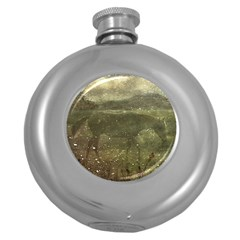 Flora And Fauna Dreamy Collage Hip Flask (round)