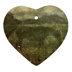 Flora And Fauna Dreamy Collage Heart Ornament (two Sides)