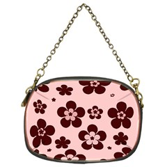 Pink With Brown Flowers Chain Purse (one Side)