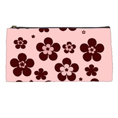Pink With Brown Flowers Pencil Case