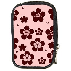 Pink With Brown Flowers Compact Camera Leather Case